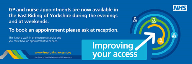 GP and nurse appointments are now available in the East Riding of Yorkshire during thr evenings aand at weekends